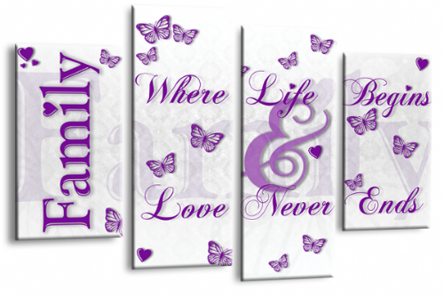 Family Quote Wall Art Picture White Purple Love Print